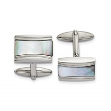 Stainless Steel Polished Rectangle Mother of Pearl Cufflinks