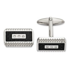 Stainless Steel Polished Black Carbon Fiber Inlay with CZ Cuff Links