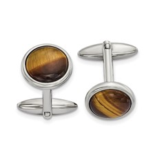 Stainless Steel Polished Tigers Eye Cuff Links