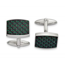 Stainless Steel Polished Black and Green Carbon Fiber Inlay Cuff Links