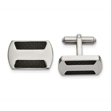 Stainless Steel Polished with Black Carbon Fiber Inlay Cuff Links