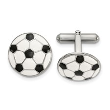 Stainless Steel Polished and Enameled Soccer Ball Cuff Links