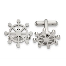 Stainless Steel Polished Ship's Wheel Cuff Links