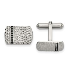 Stainless Steel Antiqued and Polished Hammered Cuff Links