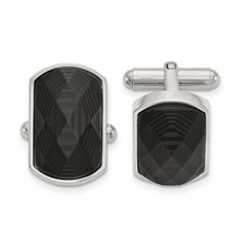 Stainless Steel Polished Solid Black Carbon Fiber Inlay Cuff Links