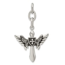Chisel Stainless Steel Wings with Cross Interchangeable Charm Pendant