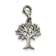 Stainless Steel Polished Tree of Life with Lobster Clasp Charm