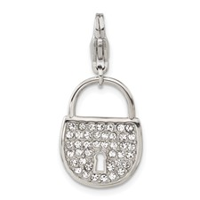 Stainless Steel Polished and Crystal Lock with Lobster Clasp Charm