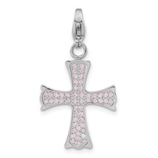 Stainless Steel Polished Pink CZ Cross with Lobster Clasp Charm