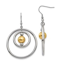 Stainless Steel Polished Yellow IP-plated Shepherd Hook Earrings
