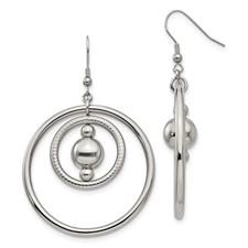 Stainless Steel Polished and Textured Shepherd Hook Earrings