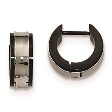 Stainless Steel Polished Black IP Hinged Hoop Earrings