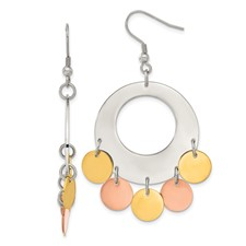 Chisel Stainless Steel and Gold and Rose Color Fancy Dangle Earrings