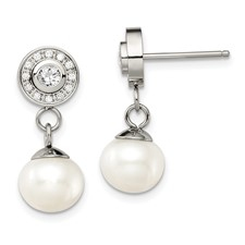 Stainless Steel Polished CZ and FWC Pearl Dangle Earrings