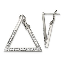 Stainless Steel Polished with Crystal Triangle Omega Back Earrings