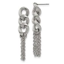 Stainless Steel Oval Chain Post Dangle Earrings