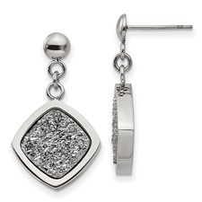 Stainless Steel Polished with Silver Druzy Post Dangle Earrings