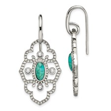 Stainless Steel Polished Imi. Turquoise and CZ Dangle Earrings