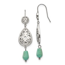 Stainless Steel Polished Imi. Turquoise Shepherd Hook Earrings