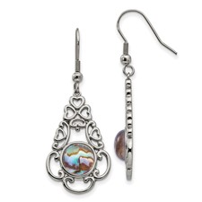 Stainless Steel Polished Imi. Abalone and Glass Shepherd Hook Earrings