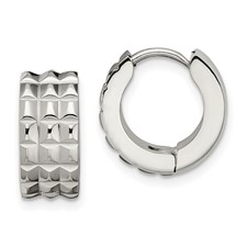 Stainless Steel Polished Studded Hinged Hoop Earrings