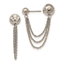 Stainless Steel Polished Reversible Ball Post Dangles