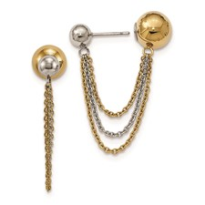 Stainless Steel Polished and Yellow IP-plated Ball Reversible Post Dangles