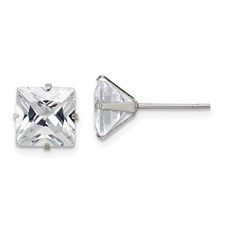 Stainless Steel Polished 8mm Square CZ Stud Post Earrings