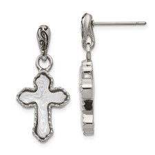 Stainless Steel Polished Carved Mother of Pearl Cross Post Dangle Earrings