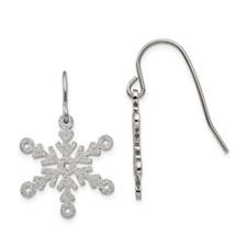 Stainless Steel Laser cut Snowflake Shepherd Hook Earrings