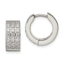 Stainless Steel Polished with 3 Rows of CZ Hinged Hoop Earrings