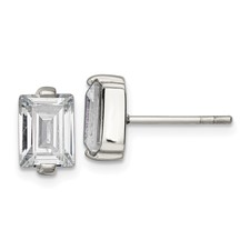 Stainless Steel Polished Rectangle CZ Post Earrings