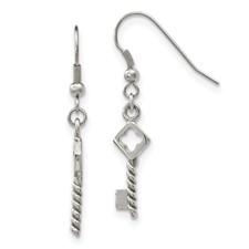 Stainless Steel Polished Key Dangle Shepherd Hook Earrings