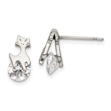 Stainless Steel Polished w/CZ Cat Post Earrings