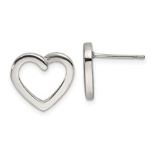 Stainless Steel Polished Heart Post Earrings