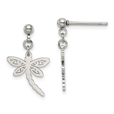 Stainless Steel Polished Dragonfly Post Dangle Earrings