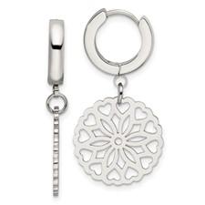 Stainless Steel Polished Flower Hinged Hoop Dangle Earrings