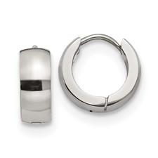 Stainless Steel Polished 5.0mm Hinged Hoop Earrings
