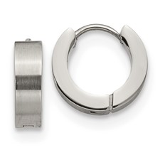 Stainless Steel Brushed and Polished 4.0mm Hinged Hoop Earrings