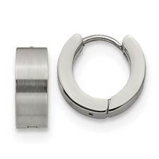 Stainless Steel Brushed and Polished 5.0mn Hinged Hoop Earrings