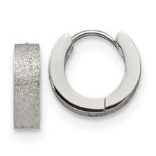 Stainless Steel Polished and Sand Blasted 4.0mm Hinged Hoop Earrings