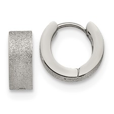 Stainless Steel Polished and Sand Blasted 5.0mm Hinged Hoop Earrings