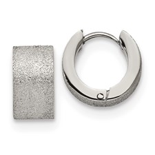 Stainless Steel Polished and Sand Blasted 7.0mm Hinged Hoop Earrings