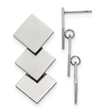 Stainless Steel Polished Squares Post Dangle Earrings
