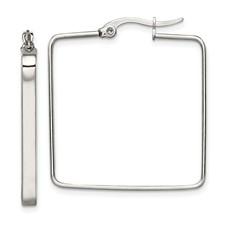 Chisel Stainless Steel 30mm Square Hoop Earrings