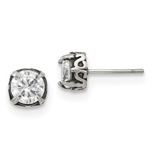 Stainless Steel Antiqued and Polished CZ Post Earrings