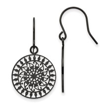 Stainless Steel Polished Black IP-plated Laser Cut Shepherd Hook Earrings