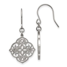 Stainless Steel Polished Laser Cut Shepherd Hook Earrings
