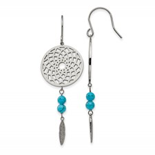 Stainless Steel  w/Imit.Turquoise Dreamcatcher Dangle Earrings