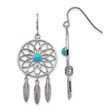 Stainless Steel Polished w/Imit.Turquoise DreamCatcher Earrings